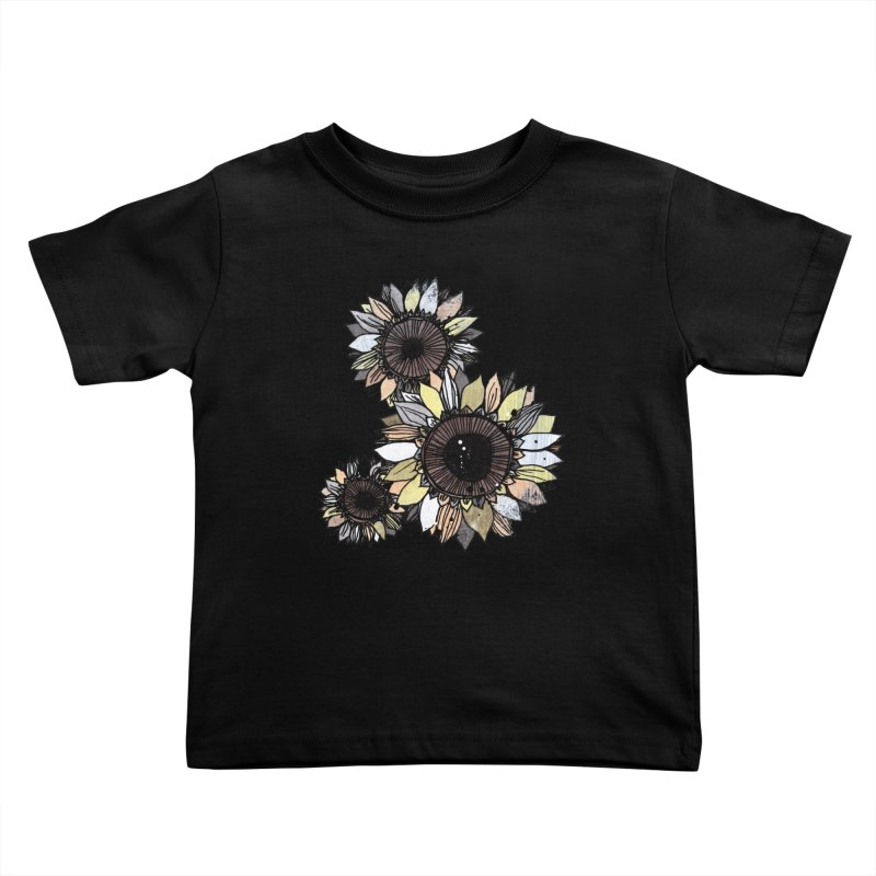 Sunflowers (Black) Kids Toddler T-Shirt by ilustramar's Artist Shop