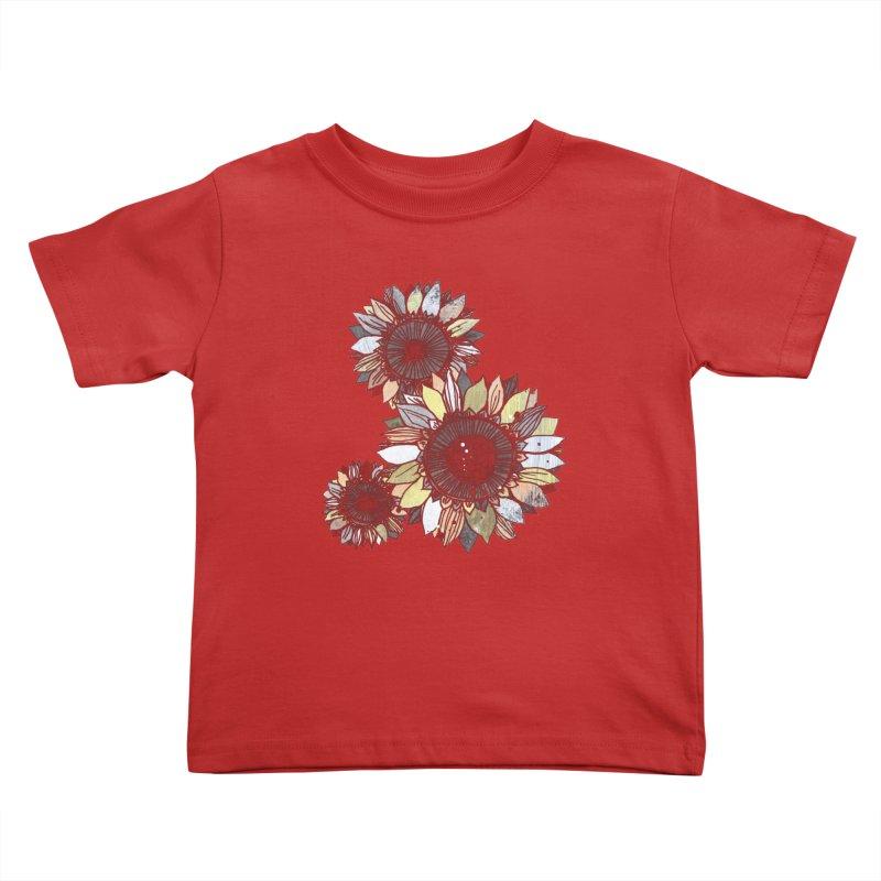Sunflowers (Black) Kids Toddler T-Shirt by ilustramar's Artist Shop