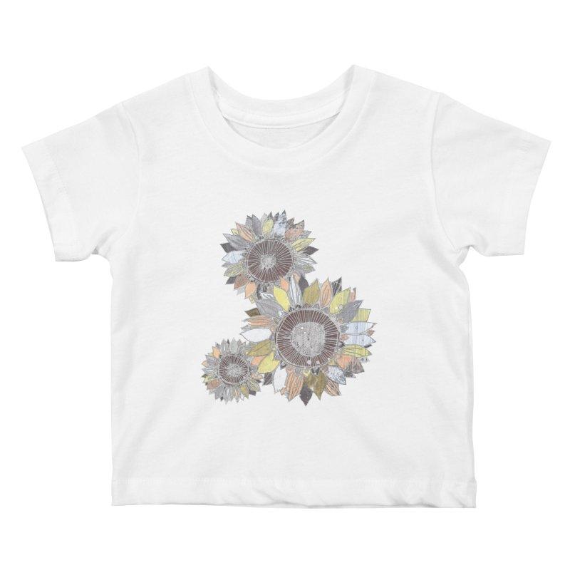 Sunflowers (Black) Kids Baby T-Shirt by ilustramar's Artist Shop