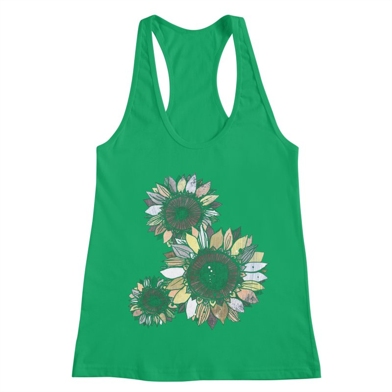 Sunflowers (Black) Women's Racerback Tank by ilustramar's Artist Shop