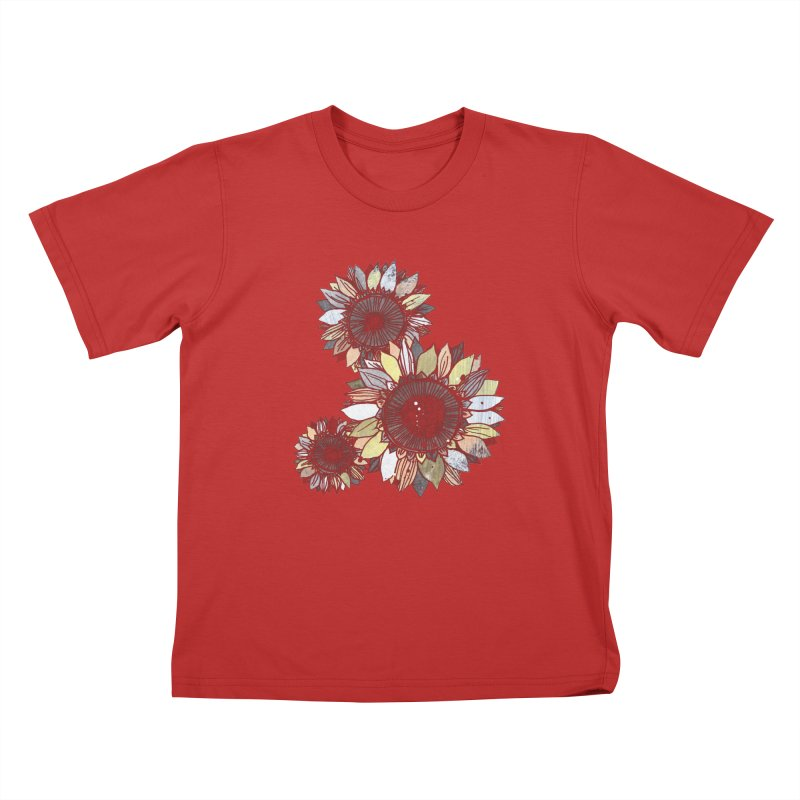 Sunflowers (Black) Kids T-Shirt by ilustramar's Artist Shop