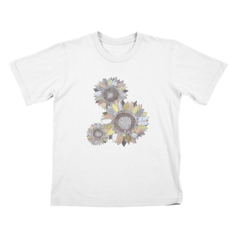 Sunflowers (Black) Kids T-Shirt by ilustramar's Artist Shop