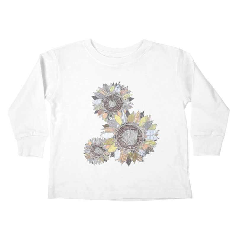 Sunflowers (Black) Kids Toddler Longsleeve T-Shirt by ilustramar's Artist Shop