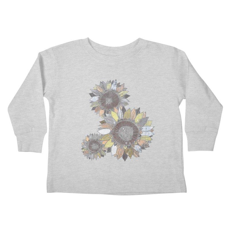 Sunflowers (Black) Kids Toddler Longsleeve T-Shirt by ilustramar's Artist Shop