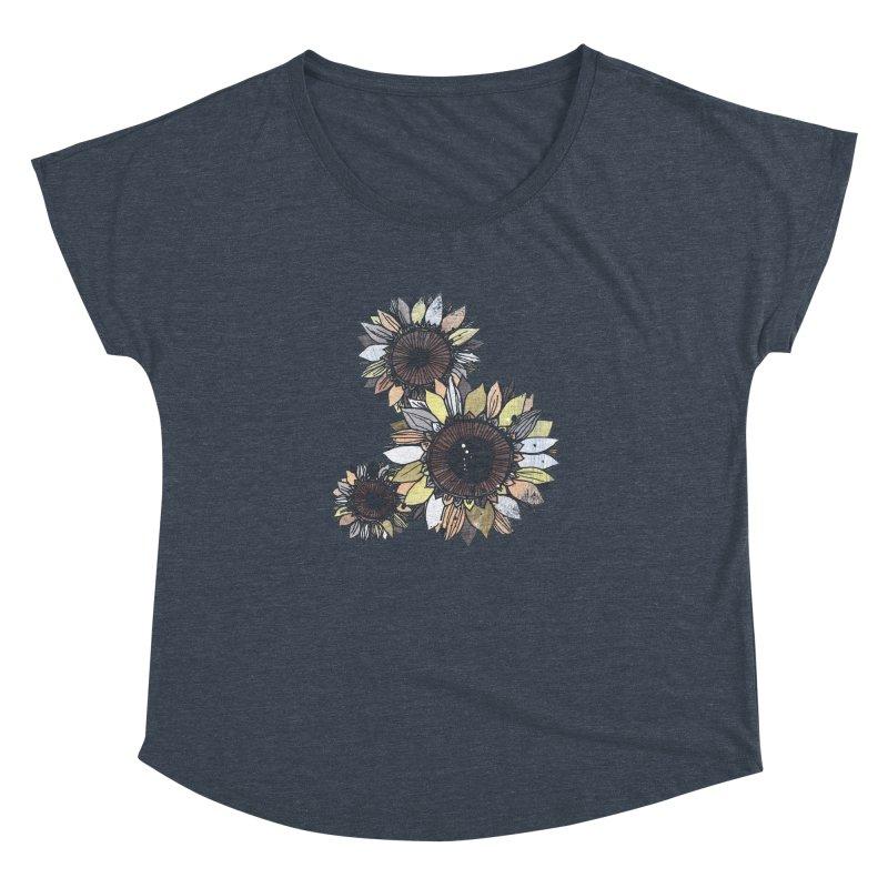 Sunflowers (Black) Women's Dolman Scoop Neck by ilustramar's Artist Shop