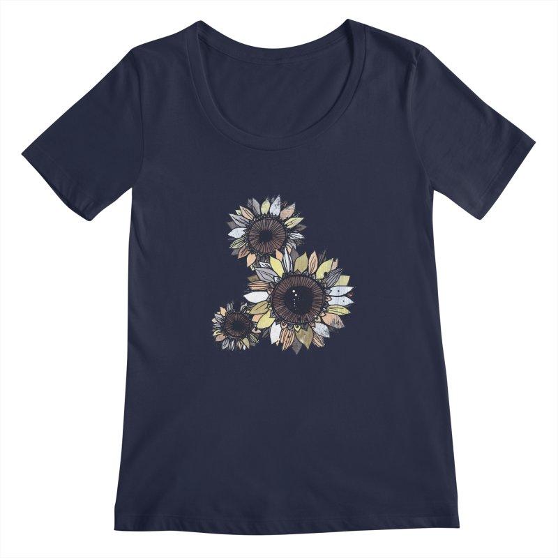 Sunflowers (Black) Women's Regular Scoop Neck by ilustramar's Artist Shop