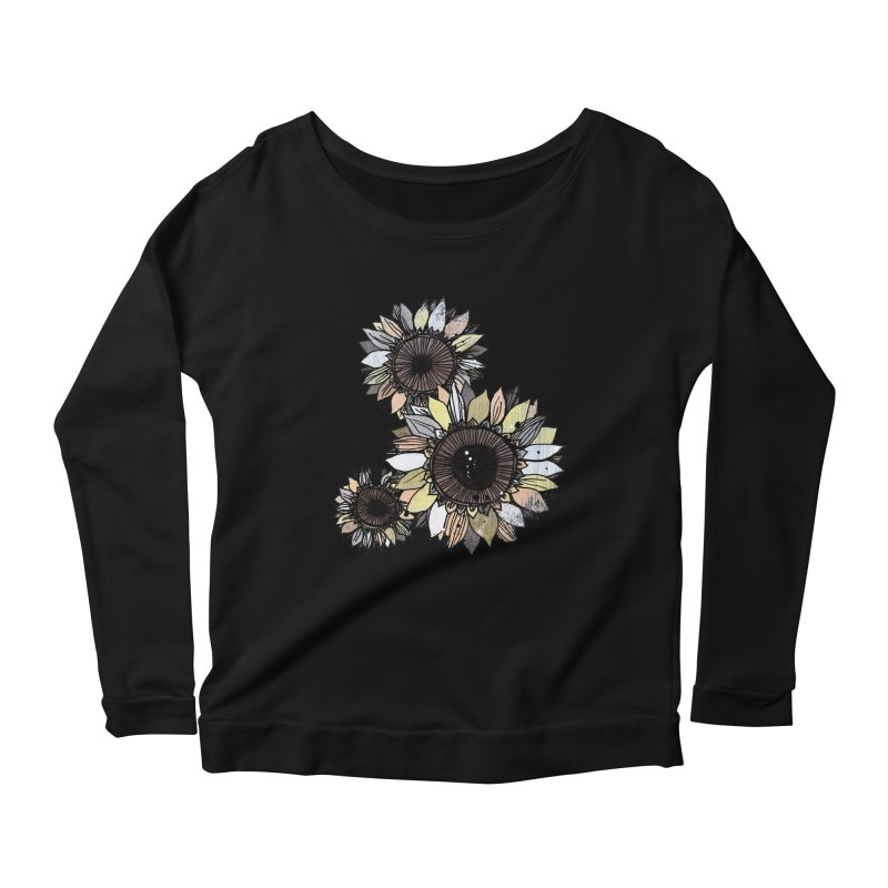 Sunflowers (Black) Women's Scoop Neck Longsleeve T-Shirt by ilustramar's Artist Shop