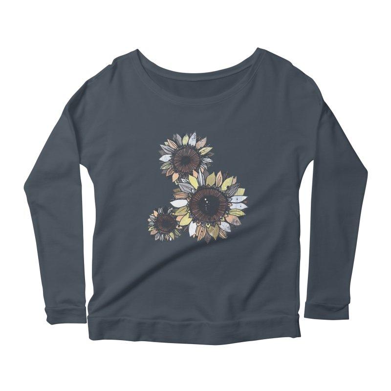 Sunflowers (Black) Women's Scoop Neck Longsleeve T-Shirt by ilustramar's Artist Shop