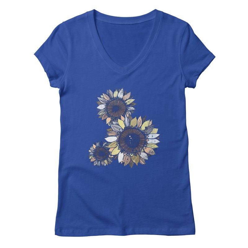 Sunflowers (Black) Women's Regular V-Neck by ilustramar's Artist Shop