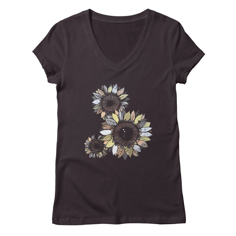 Sunflowers (Black) Women's Regular V-Neck by ilustramar's Artist Shop