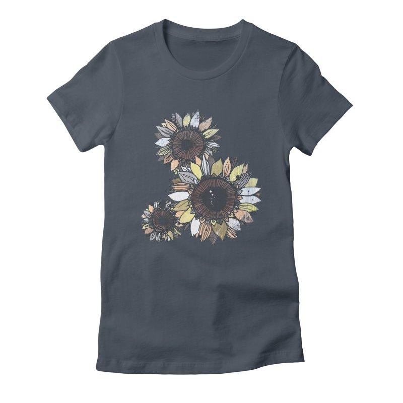 Sunflowers (Black) Women's T-Shirt by ilustramar's Artist Shop