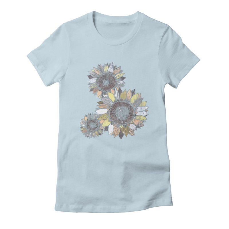 Sunflowers (Black) Women's Fitted T-Shirt by ilustramar's Artist Shop