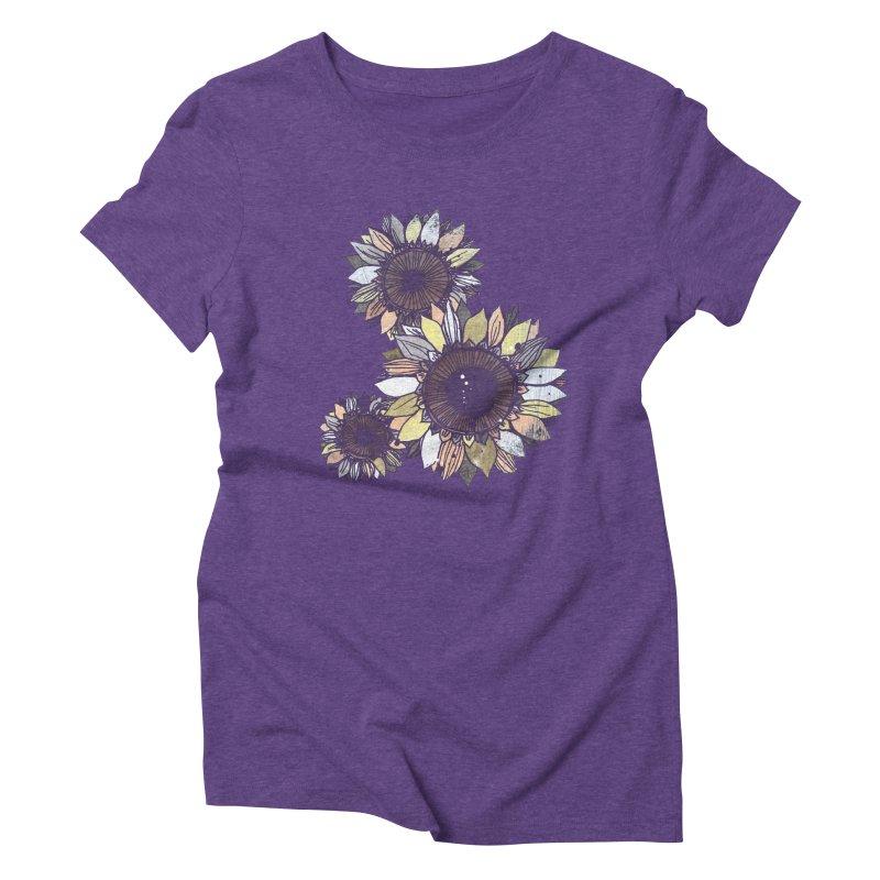 Sunflowers (Black) Women's Triblend T-Shirt by ilustramar's Artist Shop