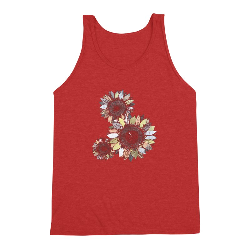 Sunflowers (Black) Men's Triblend Tank by ilustramar's Artist Shop