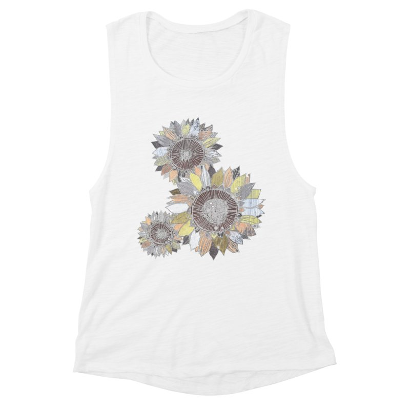 Sunflowers (Black) Women's Muscle Tank by ilustramar's Artist Shop
