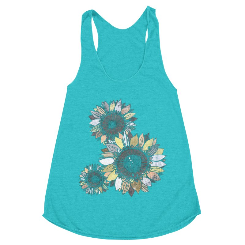 Sunflowers (Black) Women's Racerback Triblend Tank by ilustramar's Artist Shop