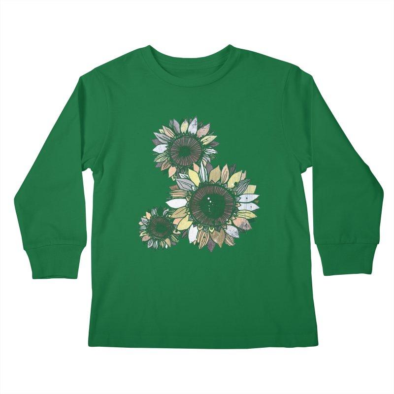 Sunflowers (Black) Kids Longsleeve T-Shirt by ilustramar's Artist Shop