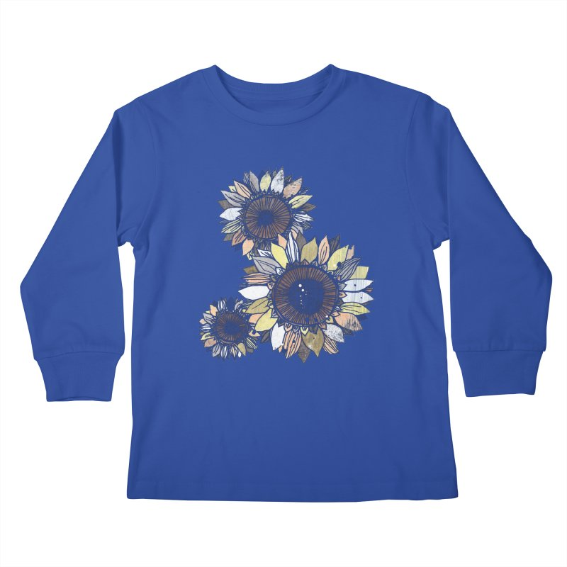 Sunflowers (Black) Kids Longsleeve T-Shirt by ilustramar's Artist Shop
