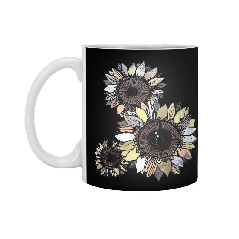 Sunflowers (Black) Accessories Standard Mug by ilustramar's Artist Shop