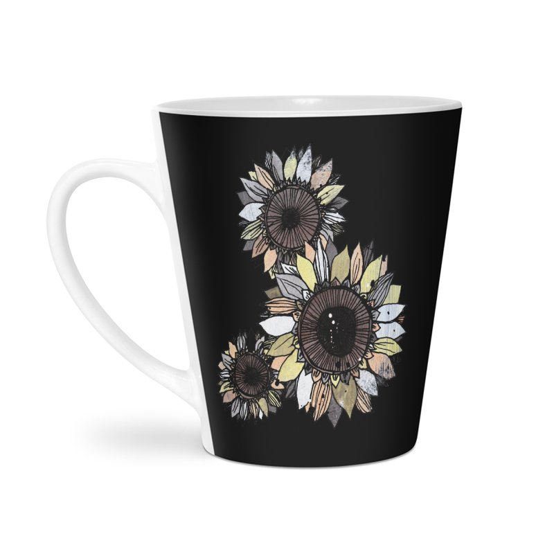 Sunflowers (Black) Accessories Mug by ilustramar's Artist Shop