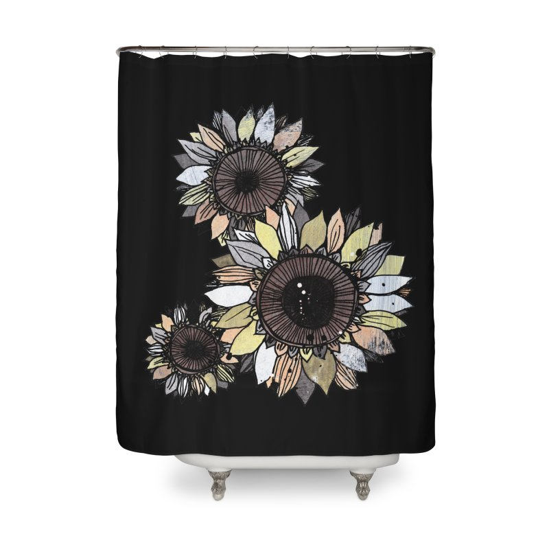 Sunflowers (Black) Home Shower Curtain by ilustramar's Artist Shop