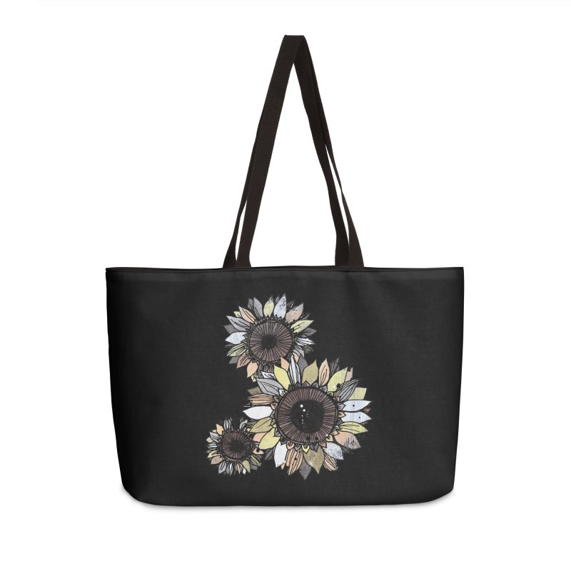 Sunflowers (Black) Accessories Weekender Bag Bag by ilustramar's Artist Shop