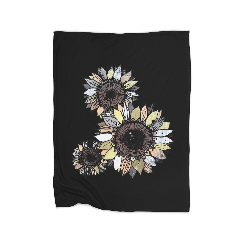 Sunflowers (Black) Home Fleece Blanket Blanket by ilustramar's Artist Shop