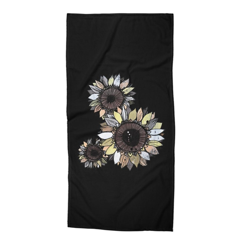 Sunflowers (Black) Accessories Beach Towel by ilustramar's Artist Shop