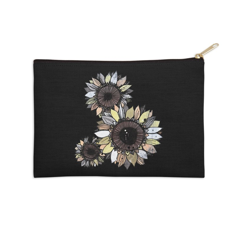 Sunflowers (Black) Accessories Zip Pouch by ilustramar's Artist Shop