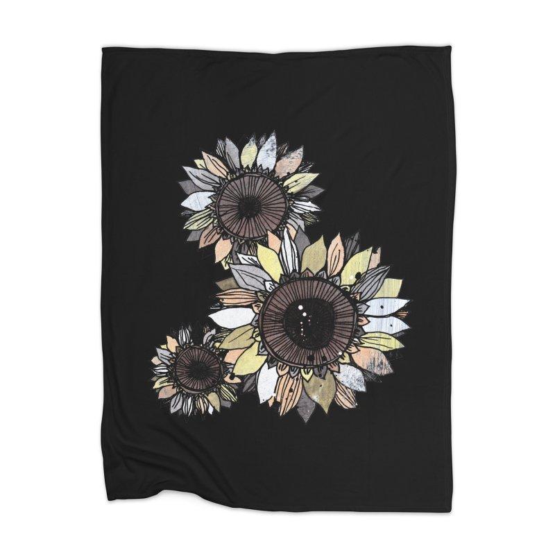 Sunflowers (Black) Home Blanket by ilustramar's Artist Shop