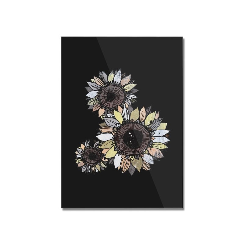 Sunflowers (Black) Home Mounted Acrylic Print by ilustramar's Artist Shop