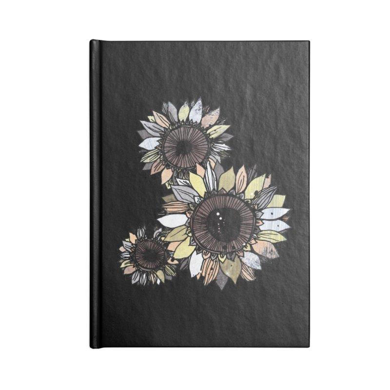 Sunflowers (Black) Accessories Notebook by ilustramar's Artist Shop