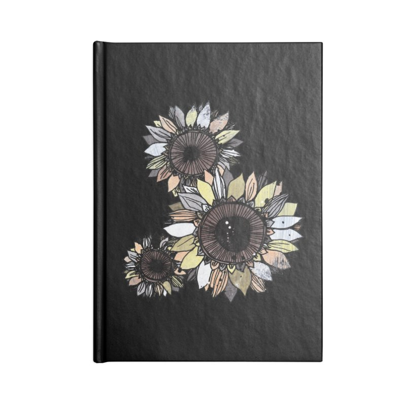 Sunflowers (Black) Accessories Blank Journal Notebook by ilustramar's Artist Shop