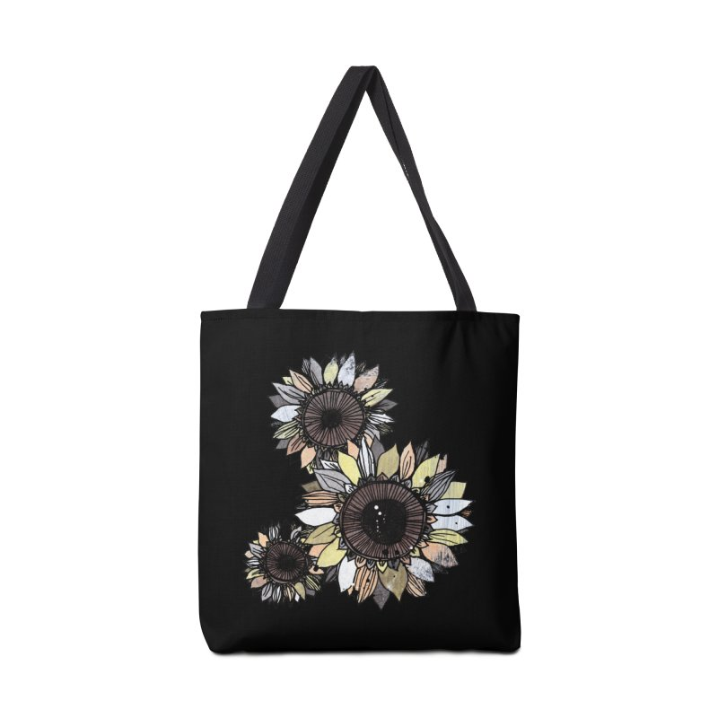 Sunflowers (Black) Accessories Tote Bag Bag by ilustramar's Artist Shop