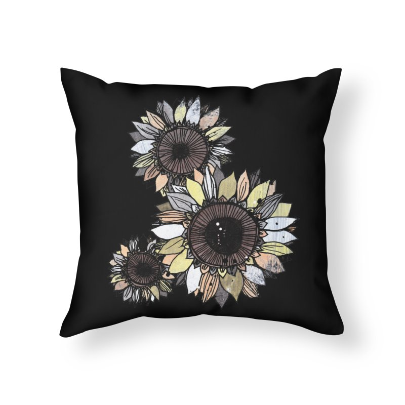 Sunflowers (Black) Home Throw Pillow by ilustramar's Artist Shop