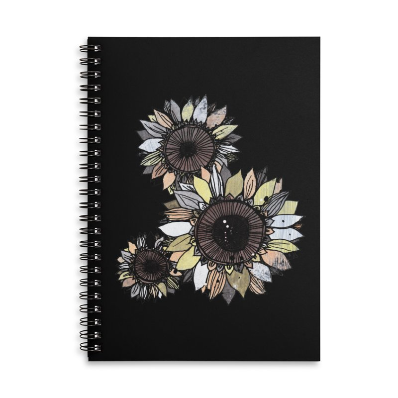 Sunflowers (Black) Accessories Lined Spiral Notebook by ilustramar's Artist Shop