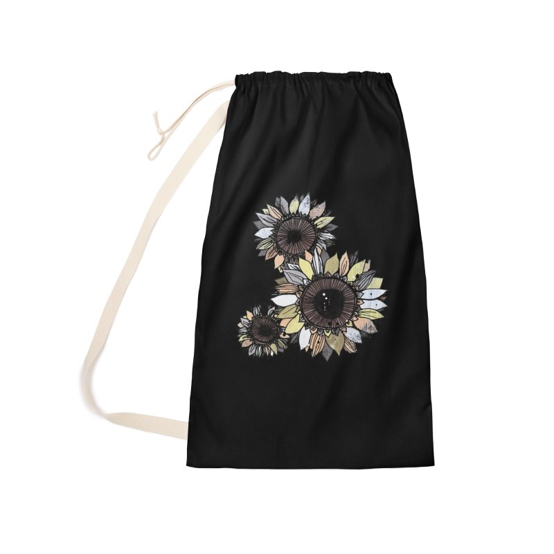 Sunflowers (Black) Accessories Bag by ilustramar's Artist Shop