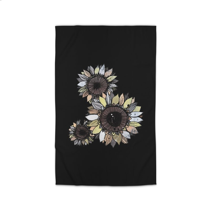 Sunflowers (Black) Home Rug by ilustramar's Artist Shop