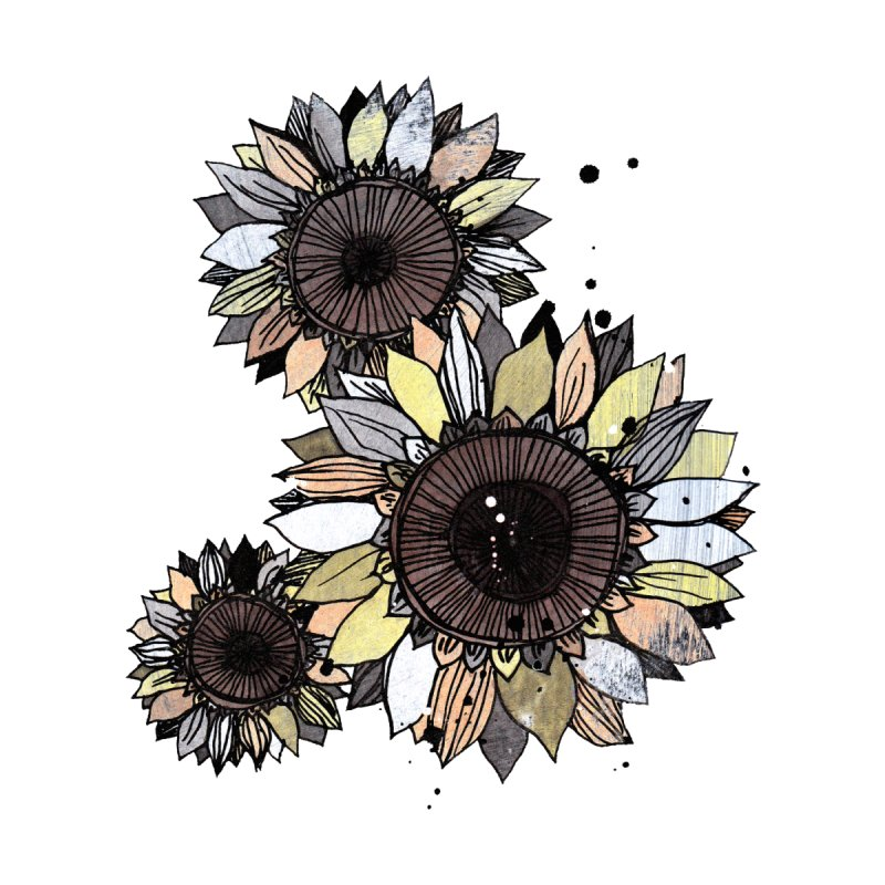 Sunflowers (White) Home Stretched Canvas by ilustramar's Artist Shop