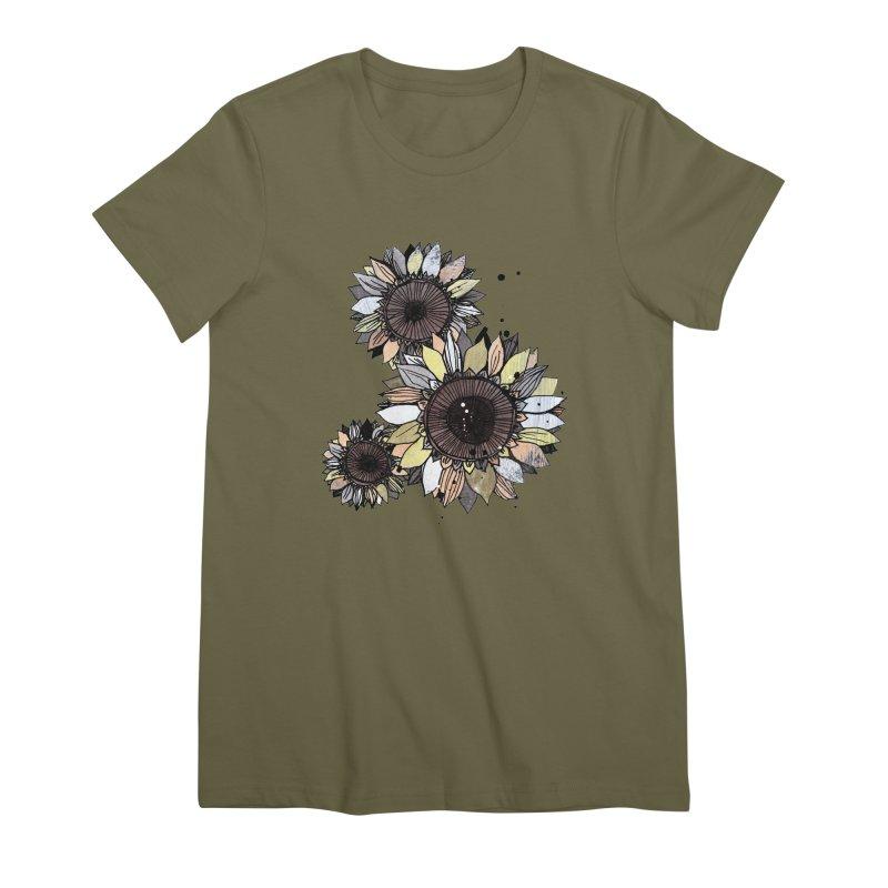 Sunflowers (White) Women's Premium T-Shirt by ilustramar's Artist Shop
