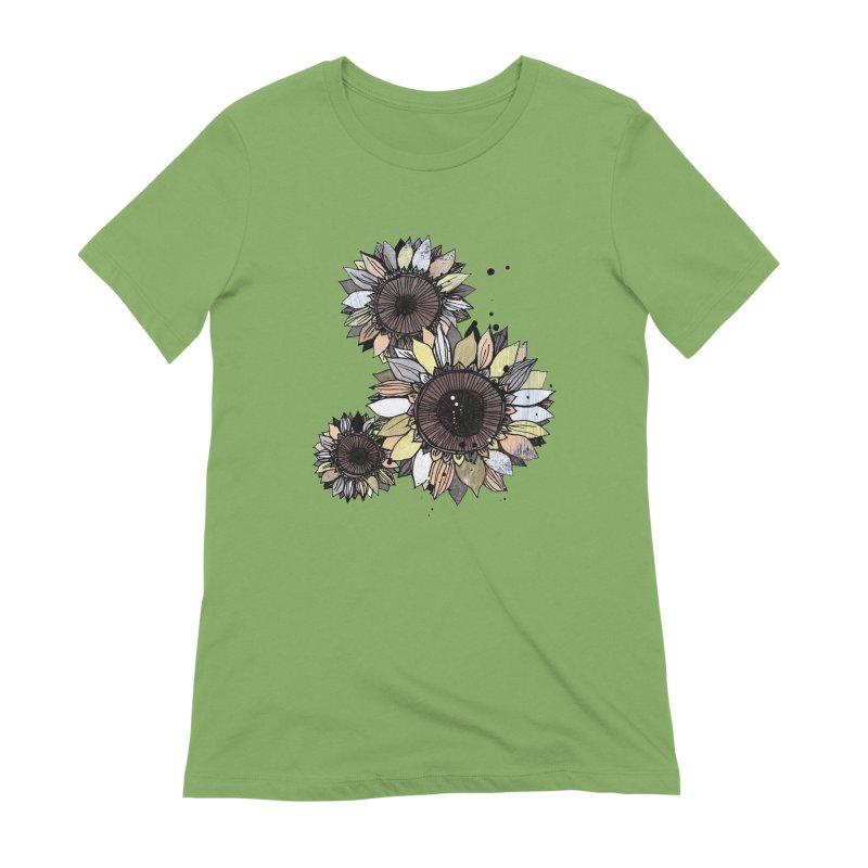 Sunflowers (White) Women's Extra Soft T-Shirt by ilustramar's Artist Shop