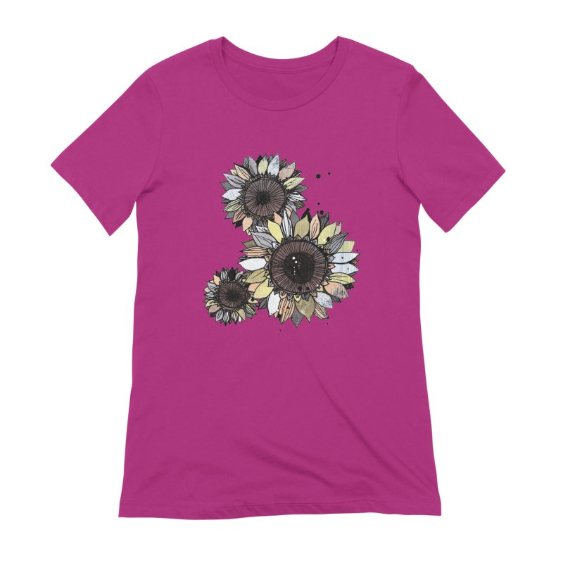 Sunflowers (White) Women's Extra Soft T-Shirt by ilustramar's Artist Shop