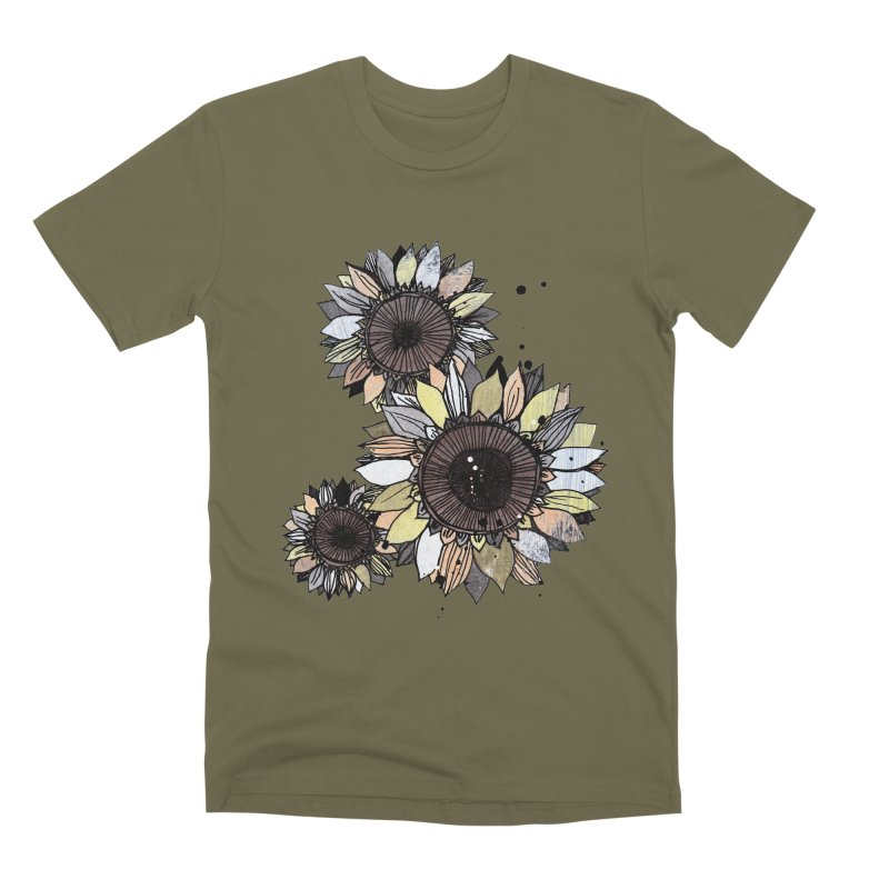 Sunflowers (White) Men's Premium T-Shirt by ilustramar's Artist Shop