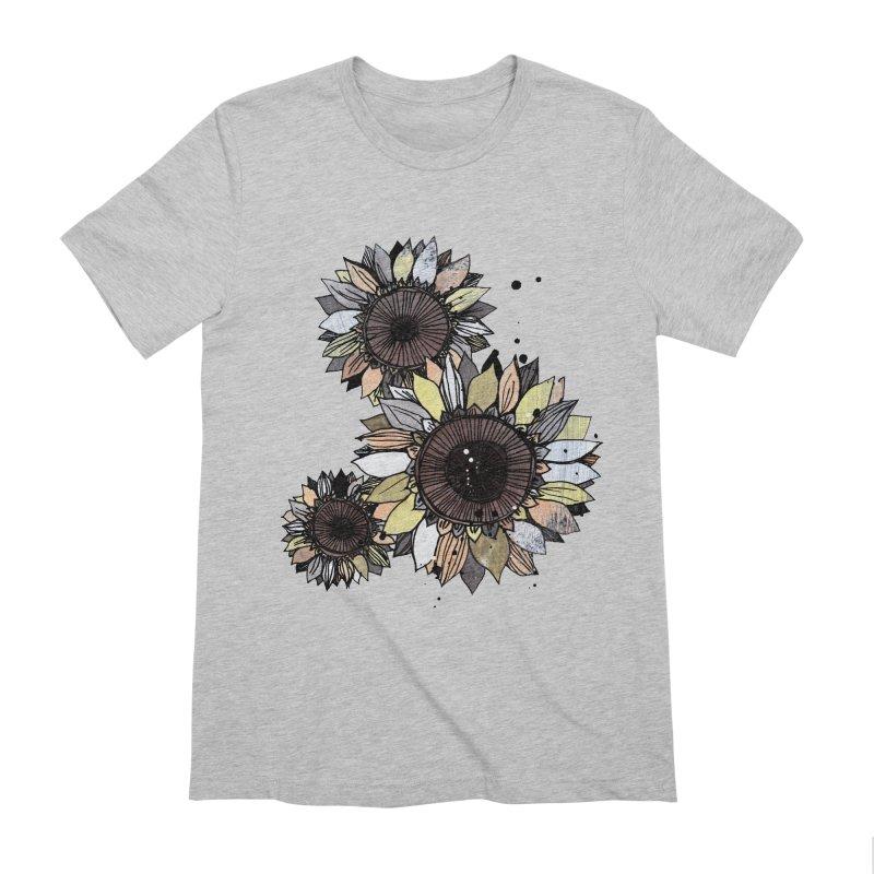 Sunflowers (White) Men's Extra Soft T-Shirt by ilustramar's Artist Shop