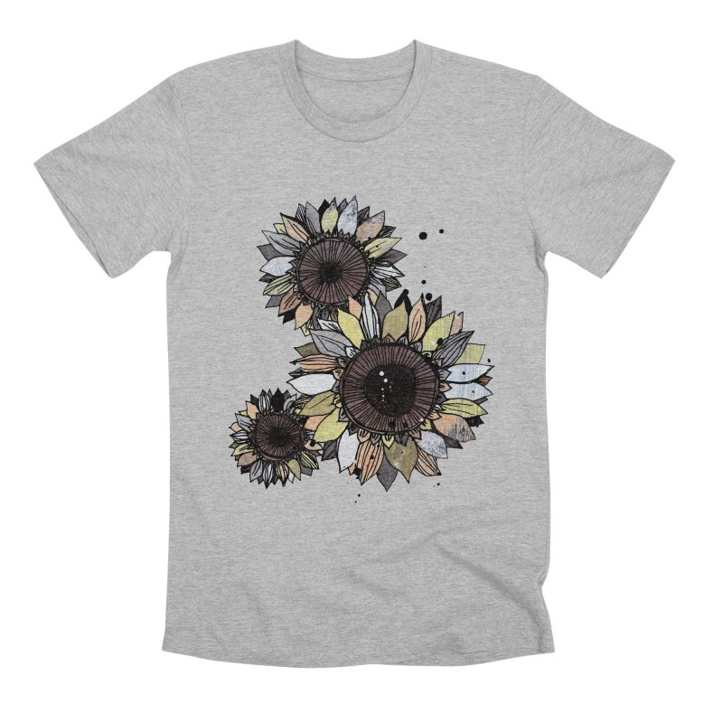 Sunflowers (White) Men's Premium T-Shirt by ilustramar's Artist Shop