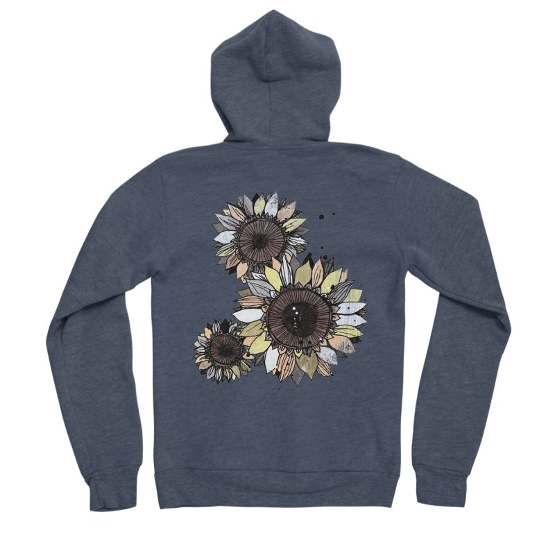 Sunflowers (White) Men's Sponge Fleece Zip-Up Hoody by ilustramar's Artist Shop