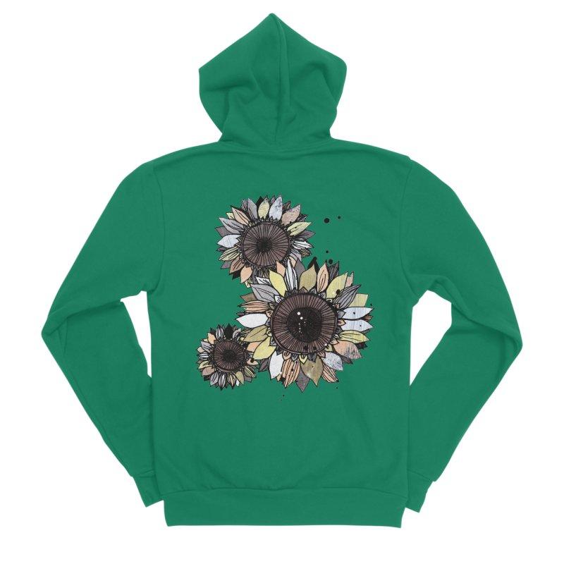 Sunflowers (White) Women's Sponge Fleece Zip-Up Hoody by ilustramar's Artist Shop
