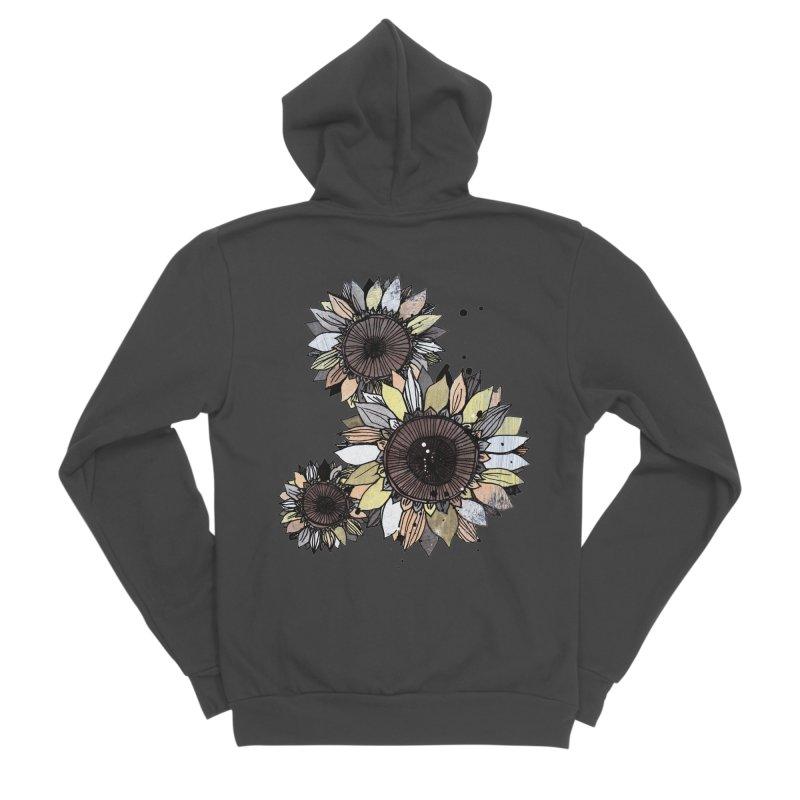 Sunflowers (White) Men's Sponge Fleece Zip-Up Hoody by ilustramar's Artist Shop