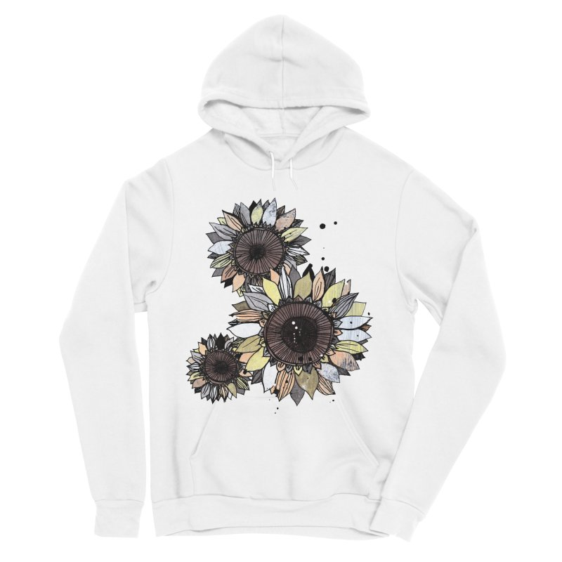 Sunflowers (White) Women's Sponge Fleece Pullover Hoody by ilustramar's Artist Shop