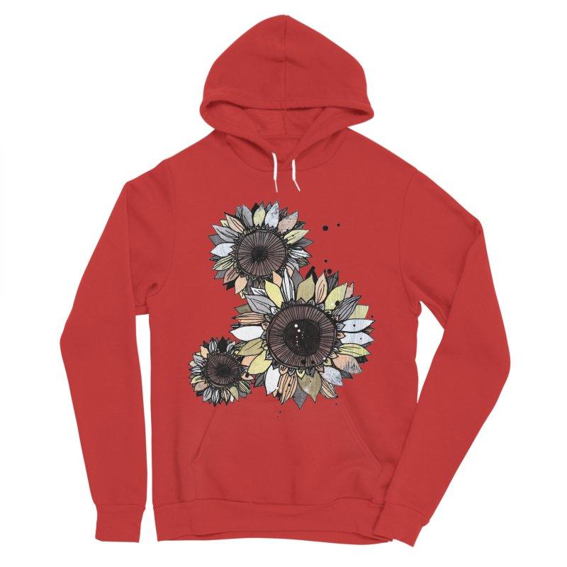 Sunflowers (White) Men's Sponge Fleece Pullover Hoody by ilustramar's Artist Shop